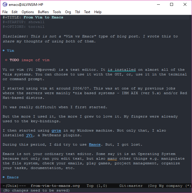 Screen capture of my emacs with this blog post draft