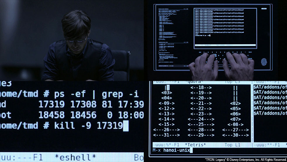 Screen capture of Tron Legacy with emacs