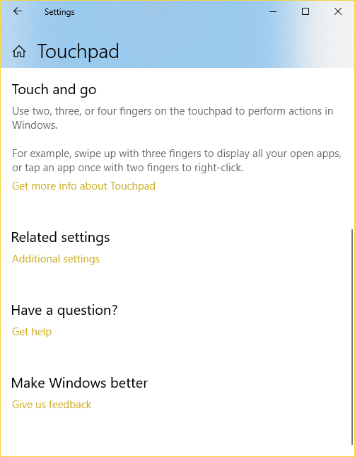 Windows Settings - Touchpad Other Settings